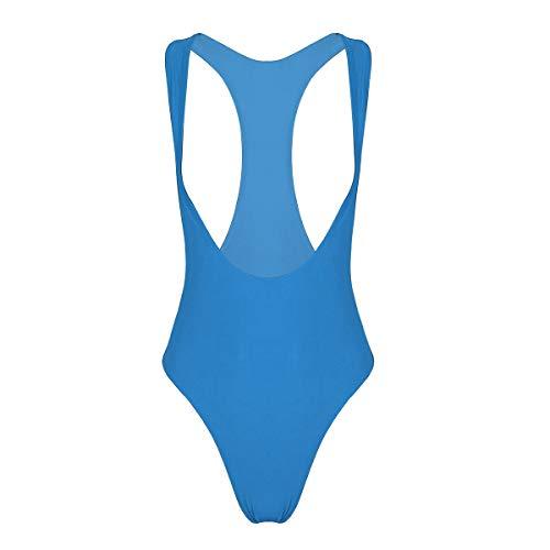 dPois Damen Brustfrei Bodysuit Ärmellos Body Badeanzug mit Hohem Beinausschnitt Stringbody Reizwäsche Unterwäsche Elastisch Blau Medium