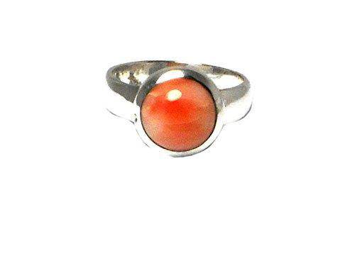 Rosa Coral de plata de ley 925 redondo Gemstone anillo (tamaño: 16) - (clr0901181)