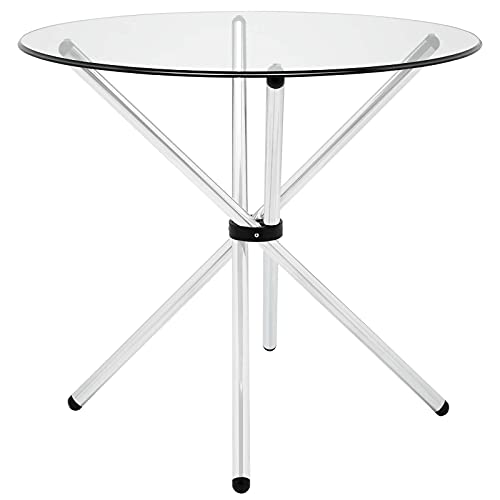 """Modway Baton 36"""" Modern Kitchen and Dining Table with Round Glass Top and Stainless Steel Base"""
