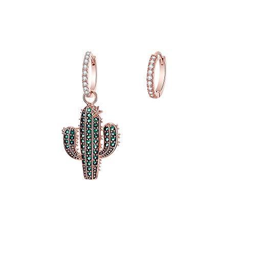 Orecchini a cerchio a forma di cactus, da donna, ipoallergenici, placcati in argento e oro rosa, con zirconi, regalo per mamma e amici e Rame, colore: