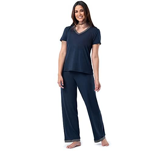 Fruit of the Loom Women's Short Sleeve Tee and Pant 2 Piece Sleep Set, Midnight Blue, X-Large