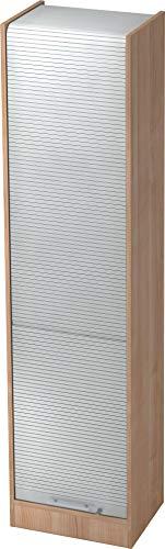 bümö® Aktenschrank mit Rollladen | Rollladenschrank für Aktenordner | Büroschrank für Akten | Büromöbel | Rolladenschrank in 5 Farben (Nussbaum/Silber)