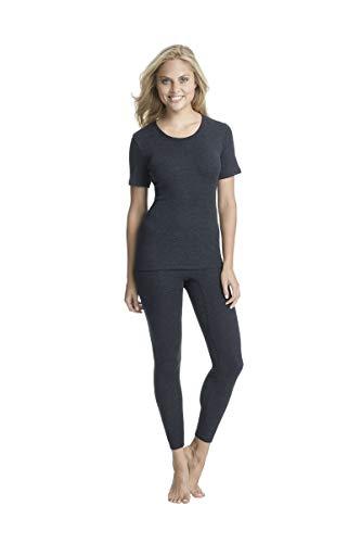 con-ta Thermo lange broek, dameslegging met natuurlijk katoen, warmte-isolerende thermische leggings, lang ondergoed, kleuren: Bourgond, zwart, maten: 36-50