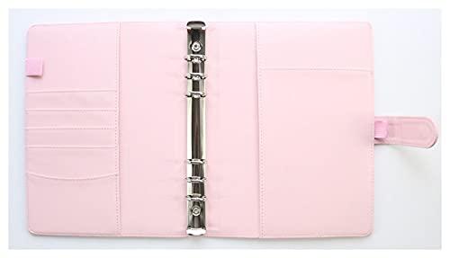 LWBK D Macaron - Cuaderno de escritorio con espiral, diseño de carpeta, organizador semanal (color: rosa solo cuero, tamaño: A5)