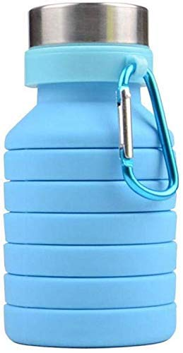 we3 BPA-Free Food-Grade Silicone Collapsible Reusable Portable Foldable Leak Proof Water Bottle for Travel Camping Hiking Gym Sports, 18oz (Blue)