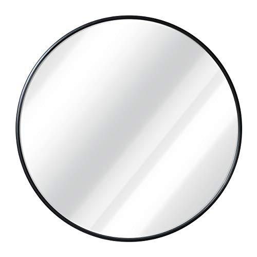Black Round Wall Mirror - 24 Inch Large Round Mirror, Rustic Accent -