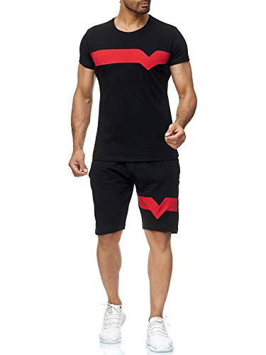 Geagodelia Tuta Uomo Completa Estiva 2 Pezzi T-shirt + Pantaloncino in Cotone Tuta Uomo Casual Sportivo Leggero M-3XL Ragazzo (Nero, m)