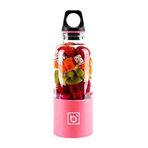 SHENGHUO batidora personal, exprimidor portátil, mezclador de fruta eléctrico/licuadora de jugos USB, recargable, 4 cuchillas en 3D para una excelente mezcla, 500 ml rosa