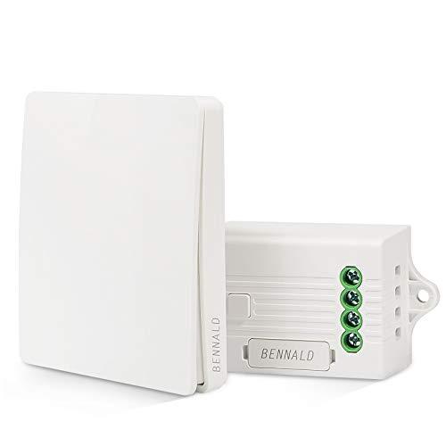 Funkschalter Licht, Funk Schalter Lichtschalter Funkschalter Set Batterielose Wandschalter Aussen Wasserdicht IP67 Kabellos kinetische Schalter Empfänger für Lampe Eletrogerät 1100W 50 Jahre Benutzbar