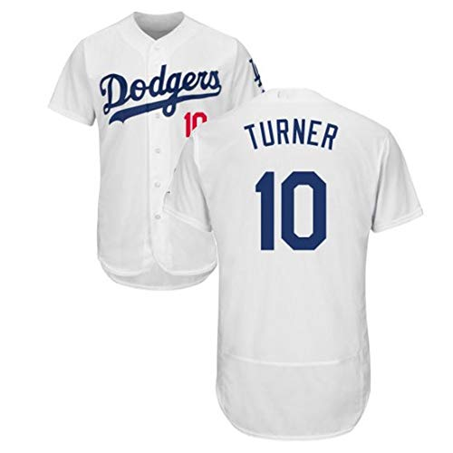 Turner Dodgers # 10 Baseball Jersey Herren Baseball Kurzarm T-Shirt Button Top Sweatshirt Atmungsaktives Real Jersey S-3XL- White-L
