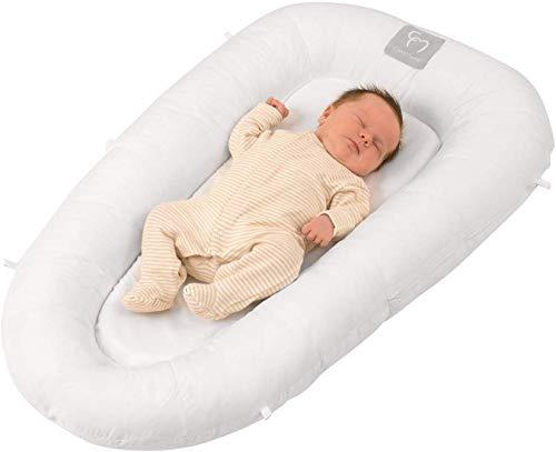 ClevaMama ClevaFoam Riduttore Lettino e Culla Neonato, Baby Nest Portatile, Traspirante e Multifunzione - Bianco, 0-6 Mesi, 52x87 cm