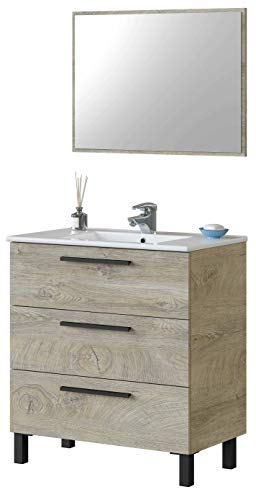 Miroytengo Mueble de baño Aseo Athena Color Roble Alaska 3 cajones y Espejo Estilo Industrial 80x45 cm SIN LAVAMANOS