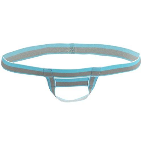 iEFiEL Mens Bare Back Sliding Ring Enhancing Strap Underwear Underpants T-Back (Blue)