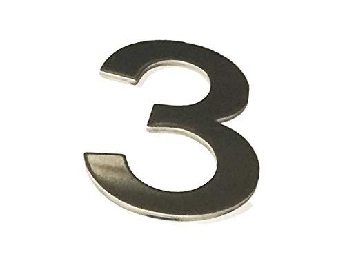 Asc - Número 3 (Tres) - Acero Inoxidable Pulido Adhesivo Casa / Número de Puerta 10cm Alto