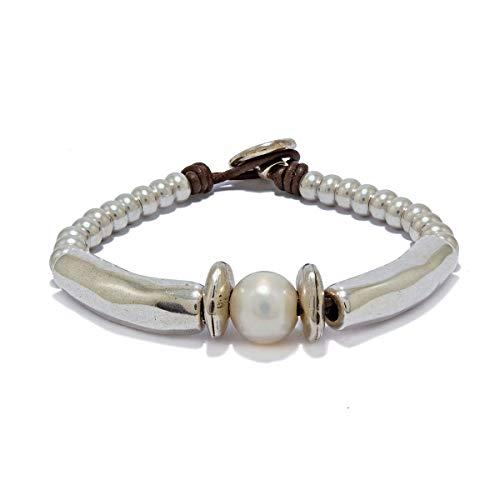 Pulsera hecha a mano con cuero y perla de río natural de Intendenciajewels - Pulsera de perlas - Pulsera de cuero y abalorios - Pulsera de cuero y perla - Pulsera de mujer