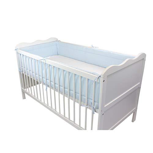 TupTam Protector para Cama de Bebé Largo Acolchado, Azul, 420x30 cm (Cuna 140x70 cm)
