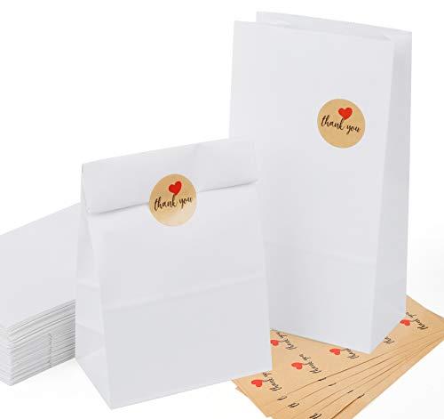 Sweelov 60 Weiß Kraftpapiertüten mit Vintage Aufkleber Papier-Beutel mit Boden 26x14x8cm Recycelt Geschenktüten für verpacken/DIY/Geburtstag/Hochzeit