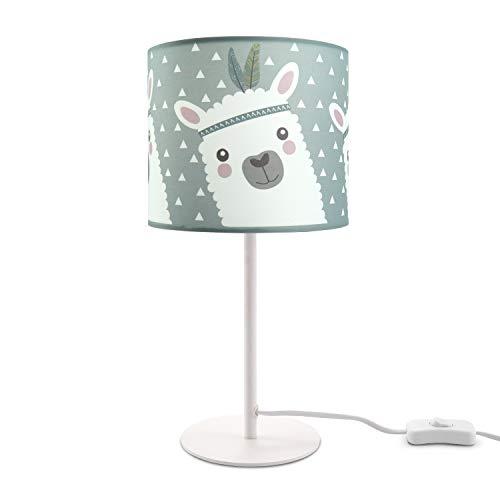 Paco Home Kinderlampe LED Tischlampe Kinderzimmer Lampe Mit Lama-Motiv, Tischleuchte E14, Lampenfuß:Weiß + Leuchtmittel, Lampenschirm:Grau (Ø18 cm)