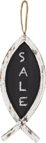 Manual Woodworkers and Weavers Chalk It Up Hanging Fish Chalkboards, White, Set of 2
