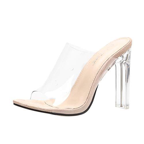 Sandalias Transparentes de tacón Alto para Mujer Tacón Fino Peep Atractivo Sandalias de Tacones Altos Talon Grueso Casual Roma Zapatillas Zapatos Cómodo Chanclas riou