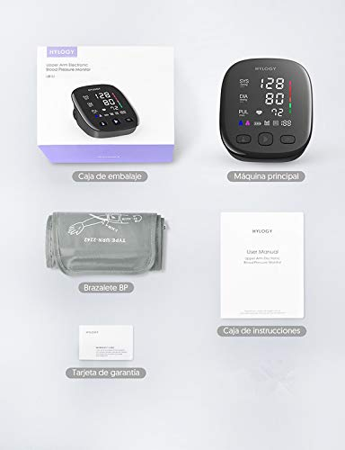 31XcNOUCIzL - HYLOGY Tensiómetro de Brazo, Monitor de Presión Arterial Digital Automatico con Gran Pantalla Led, Deteccion de Irregular Arritmia, Brazalete 22-42cm, 2x90 Memoria y Usb