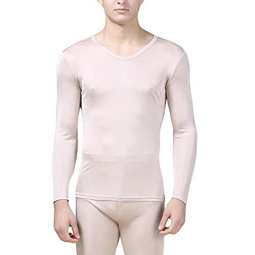 LingDooo Mens Pure Silk Winter Knit Underwear Winter Thermal Long Johns Set V Neck Silk Shirt +Pants (XL(Tag 3XL), V-Beige)