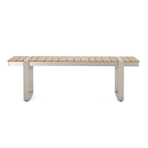 Christopher Knight Home 313716 Timothy Outdoor Aluminum Dining Bench, Natural + Silver