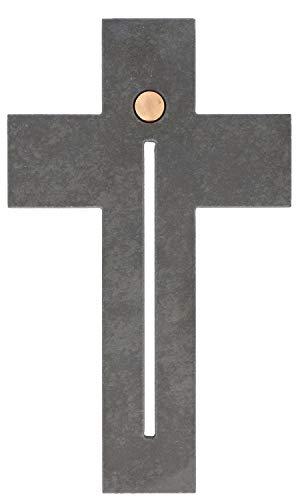 Butzon & Bercker Wandkreuz Kreuz Freude Kruzifix Schiefer Bronze-Element Gregor Telgmann