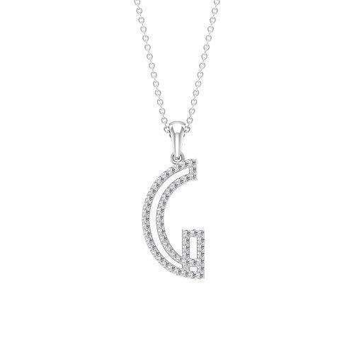 HI-SI - Collana con iniziale di diamante da 0,33 ct, con nome dell'alfabeto, con ciondolo a forma di lettera e lettera personalizzabile e Oro bianco, colore: bianco, cod. RCPE092021139-10