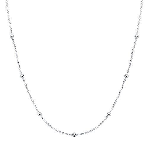 Iyé Biyé Jewels – halsketting met hanger voor dames, sterling zilver 925, bolletjes 40 cm, sluiting