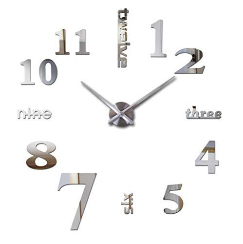 DIY 3D reloj de pared acrílico espejo pared etiqueta engomada decoración del hogar sala cuarzo aguja gran arte diseño reloj de pared 47 pulgadas 120 cm