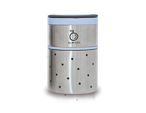 Olmitos 1755 Termo de Acero Inoxidable, 250 ml + 570 ml, Azu
