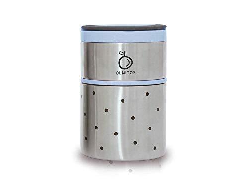 Olmitos 1755 Termo de Acero Inoxidable, 250 ml + 570 ml, Azul