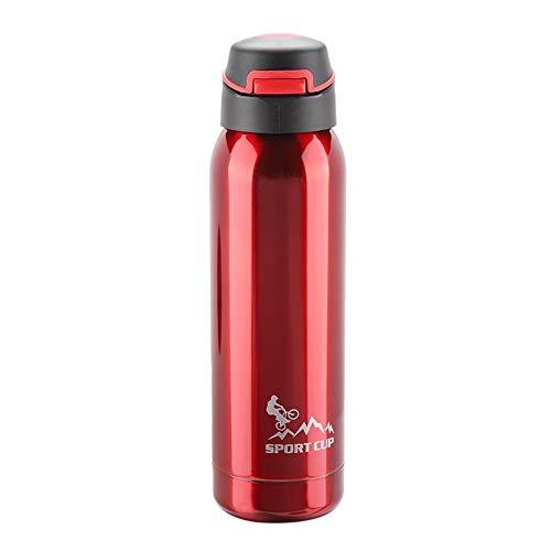 TOPINCN Botella de Agua Deportiva Botella portátil de Acero Inoxidable con Aislamiento al vacío Taza de la Taza de Paja Regalo de Viaje Oficina Exterior 500 ml(Rojo)