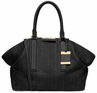 Collection Lexi Large Sueded Snakeskin Satchel Black Handbag New