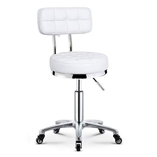 BESTSOON Rollhocker Hocker Stuhl Schönheitssalon gewidmet Pulley Hocker Barber Shop Runde Hocker Stuhl Rotation Aufzug Friseursalon Maniküre Tattoo-Therapie Schönheit Massag (Color : White, Size : B)