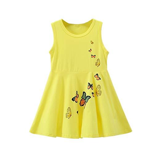 BOBORA Robe de Princesse Décontractée sans Manches en Coton avec Papillons pour Bébé Filles 2-7 Ans