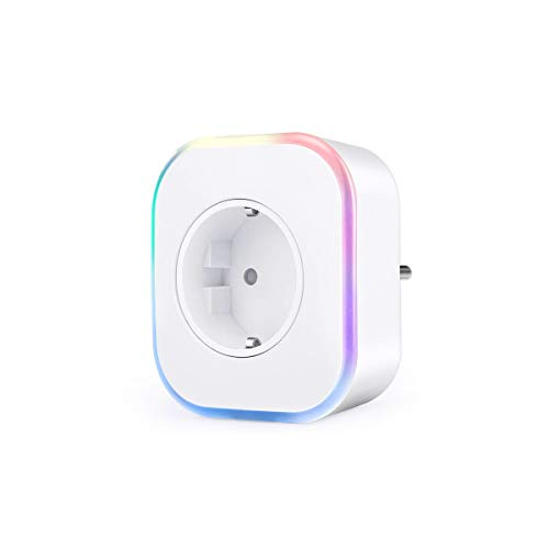 Enchufe Wifi, Hedynshine Enchufe Inteligente con USB, Control Remoto/Mando de Voz, Luces de Ambiente Colorido, Temporizador Enchufe, Compatible con Google Home/Amazon Alexa/Android/IOS(2 pack)