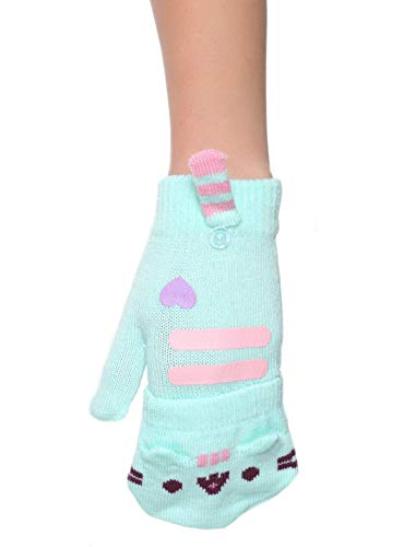 Pusheen Cat Face Fingerless Gloves with Mitten Covers (One Size, Teal)