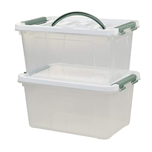 Saedy 6 Quart Clear Plastic Multipurpose Handled Storage Box with Lid, 2-Pack