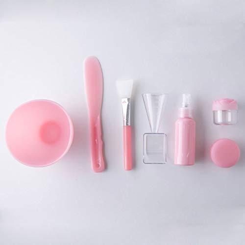 Bol à masque Masque Jatte Ensemble, Lady Soins du visage Masque Masque de mélange Ensembles d'outils, bol bâton de brosse de Gauge (Color : Pink)