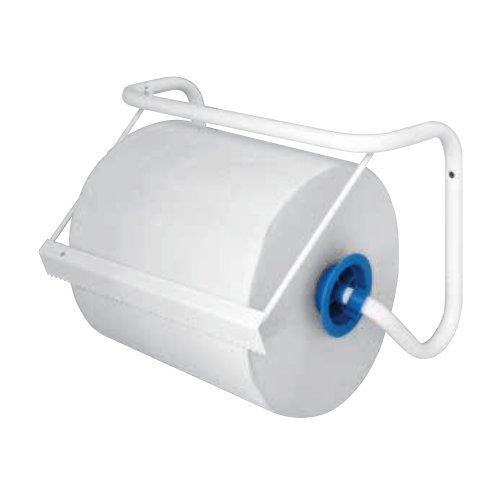 EcoWorldHotel Dispenser a Muro di Carta Asciugamani in Rotolo - in Metallo Laccato Bianco - 38 x 17 x 26h cm