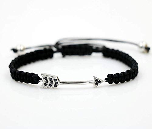 ANGYANG Woven Bracelet,Black Rope With Silvery Exquisite Arrow Inlay Zircon Braided Adjustable Charm Bracelets Friendship Gift For Boy Girl Couples Men Women