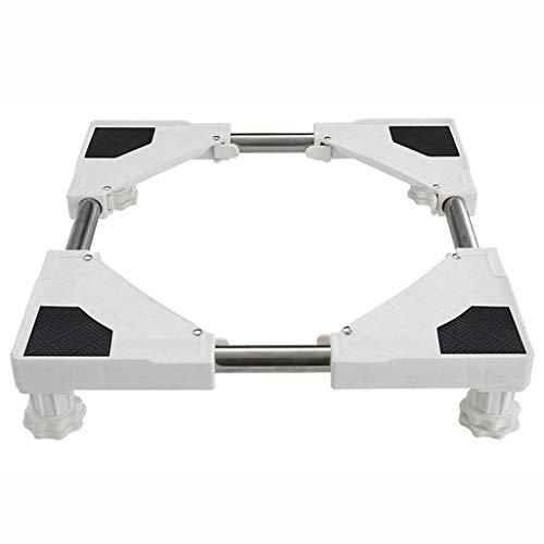 Base móvil multifuncional Base móvil - móvil acero inoxidable multi-funcional Frigorífico base reforzada Lavadora cremallera móvil con 4 pies fuertes Conveniente Para lavadora...