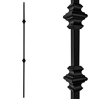 """Stair Balusters (10-Pack) Hollow Double Knuckle Iron Spindles - Real Satin Black not Matte Metal Balusters 1/2"""" x 44"""" Tall Stair Parts Metal Spindles"""