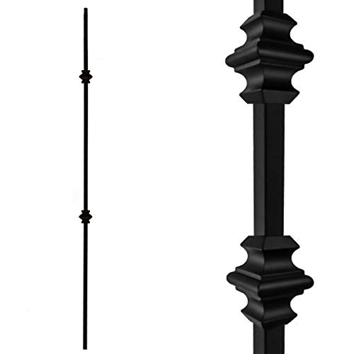 Stair Balusters (10-Pack) Hollow Double Knuckle Iron Spindles - Real Satin Black not Matte Metal Balusters 1/2