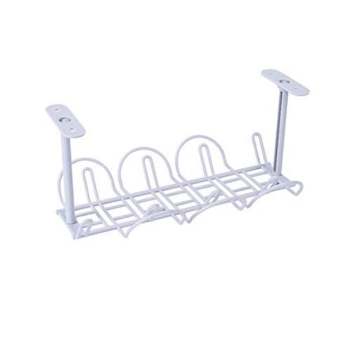 GeKLok Cesta organizadora de cables para debajo del escritorio, organizador de cables autoadhesivo con cesta colgante, bandeja de gestión de cables para escritorio, oficina y cocina (gris)