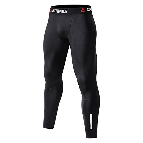 Men's Compression Thermal Leggings,Athmile Warm Fleece Sports Tights Capris Pants for Yoga,Running,Training