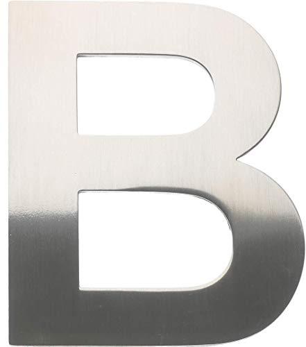 """Metall-Buchstabe """"B"""" aus gebürstetem Edelstahl – Höhe 8cm – Hausnummer, Zimmerbeschriftung, Bürobeschriftung, Türsymbol, Wandbeschilderung – rostfrei und selbstklebend ohne bohren"""