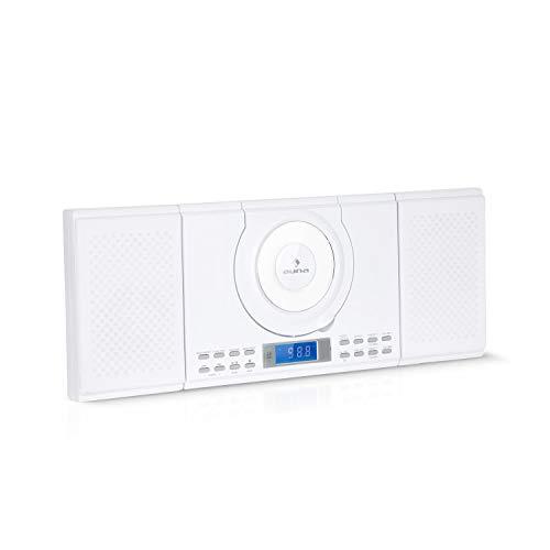 Auna Wallie Microsystem - Impianto Stereo Compatto, 2x10 Watt RMS, Lettore CD, CD-R, CD-RW, Bluetooth, USB, Telecomando, Montaggio a Parete, Bianco Neve